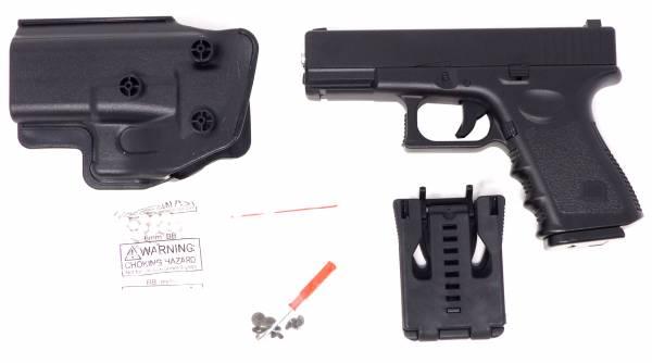 Softair Pistole Vollmetall schwarz Federdruck Gun 19cm Inkl Magazin 0,5 Joule