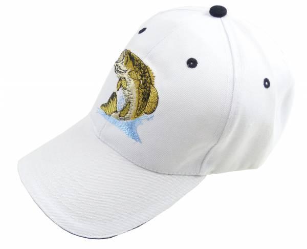 Angler-Muetzen Herren Damen Fischer Cappy weiss Man Woman Fisher Cap Schirm-Muetze mit Motiv Fisch Retro Mütze (white)