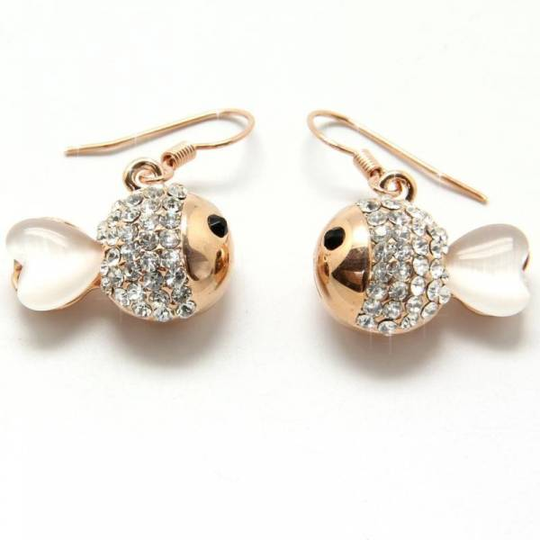 Ohrringe Damen Schmuck Hänge Ohrring-Set  rose-gold Strass Besatz 2Stk Designer Earrings mini rosè-gold GLAM-FISH 2805