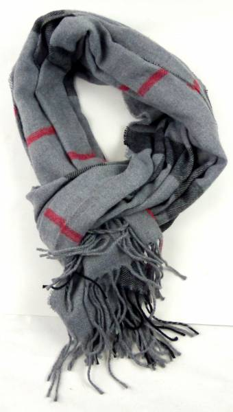 Poncho-Schal XL Herren Damen-Schals grau Sommer und Winter grau-kariert mit roten Linien Men-Scarfs Grey