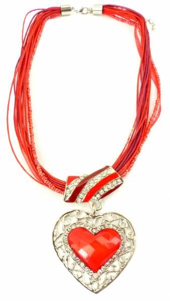 Oktober-Fest Herz-Kette Trachten-Schmuck rot