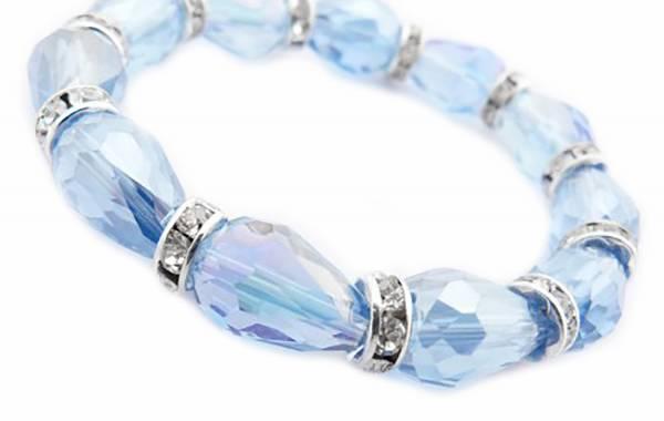 Damen-Armband mit Glitzereffekt und Strass, zart Blau 20cm Stretch