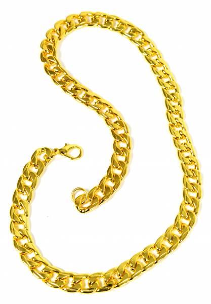 Gold-Kette Panzerkette für Männer Herren Edelstahl Halskette Gliederkette Hiphop Biker Rocker Chain