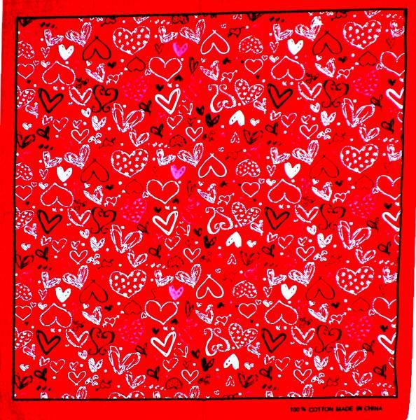 Tuecher Nickituch rot Motiv Herzen LOVE Design Herren Damen universal Tuch Bandana paisle. Kopftuch Scarf Halstuch Armband Zantana Nikituecher Heart Scarf red Color ca 55x55cm 5087