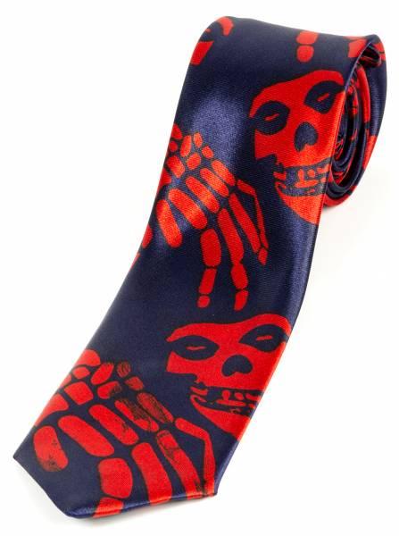 Motto-Krawatte Schlips Totenkopf Blau Rot Halloween Karneval Skull