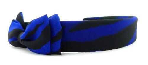 Haarreif Haar-Spange Haar Klammer 3569 mit Schleife Night-Zebra Schwarz Blau O60
