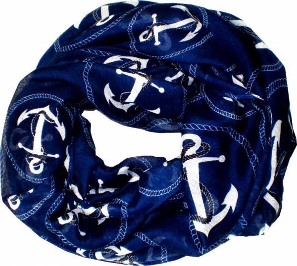 Schal Herren Damen Loop Schal blau Schlauch Schals Rundschal (AnkerXLblau) 4719