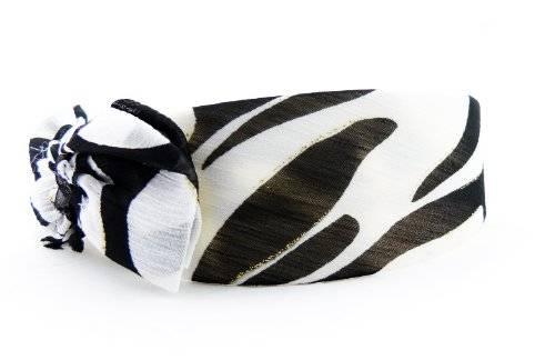 Haar-Reifen 2878 Haarreif Haar-Kralle mit Schleife im Zebra Look Schwarz Weiss O75