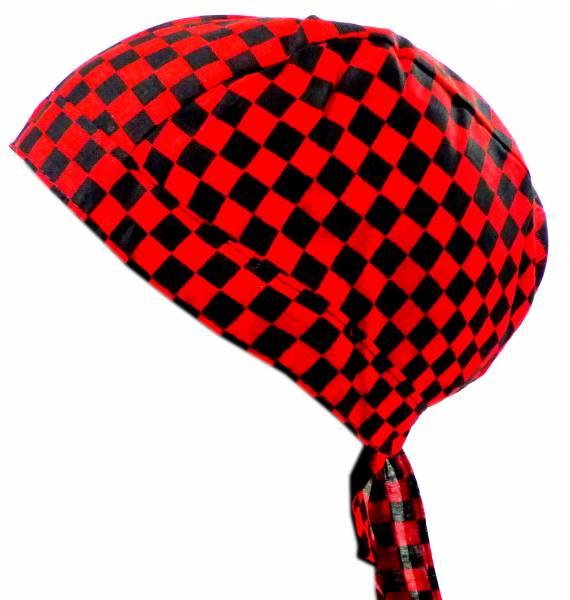 Kopf-Tuch kariert Herren Damen Kinder Kopftuecher schwarz rot Karo klein Bandana Headscarf Punk Rock für Kinder und Erwachsene (karo klein) 4979