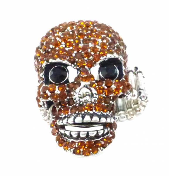 Halloween-Ring XL Statement-Ringe Totenkopf braun