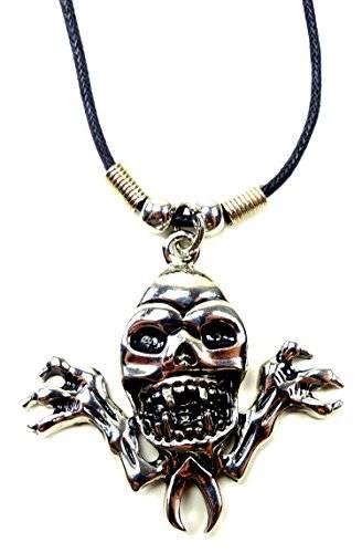 Echtleder Halskette mit scary Skull Anhänger Edelstahl UX-10