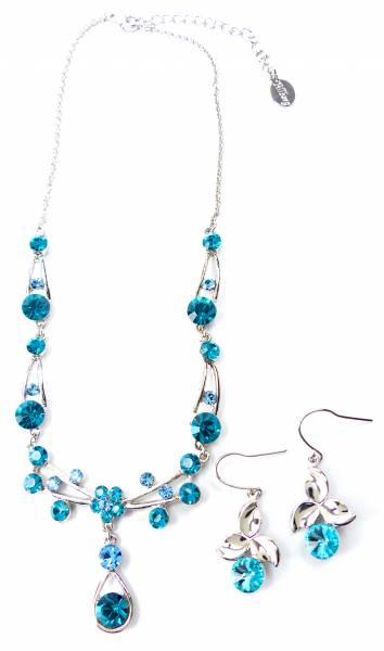 DamenHalskette und Ohrringe mit Swarovski Steinen besetzt Schmuck Set türkis
