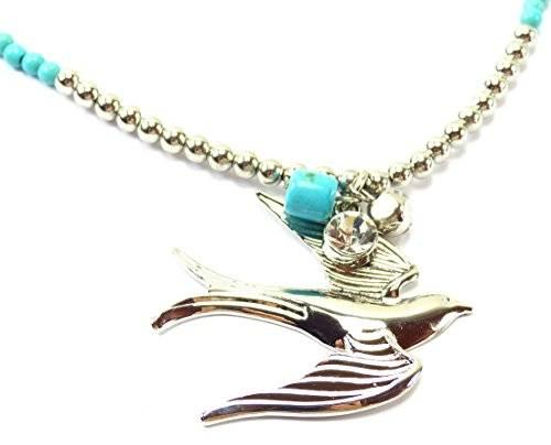 edle Halskette türkies mit Anhänger Taube-silver OW2