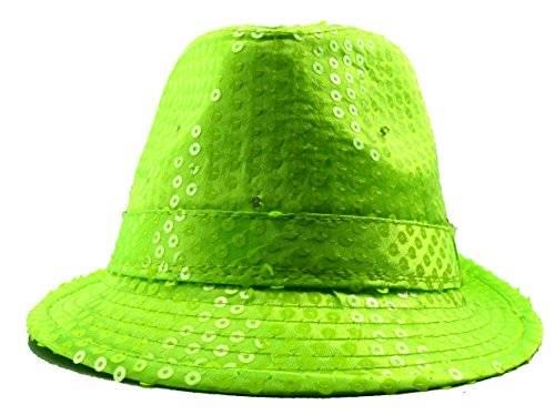 Hut 3423 viele LED Party Hüte LED Pailletten Hut mit LED Lichtern Party LED Hüte (neon grün)