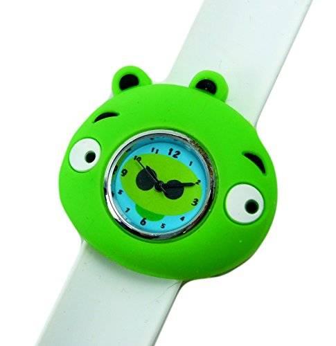 süße Kinderuhr mit Slaparmband aus Silikon viele Modelle (hippo-weiss)