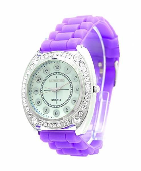 Damen-Uhr lila Sport-Uhren mit Strass edle Designer Glamour Armbanduhr Damen Uhr Lady Watch DK lila Strass