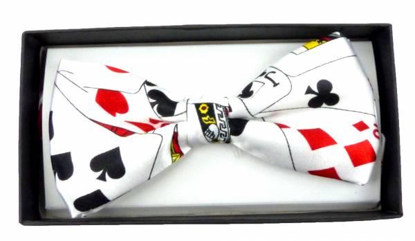 Herren Damen Anzug-Fliege weiss mit Karten Motiv Casino Poker-Star