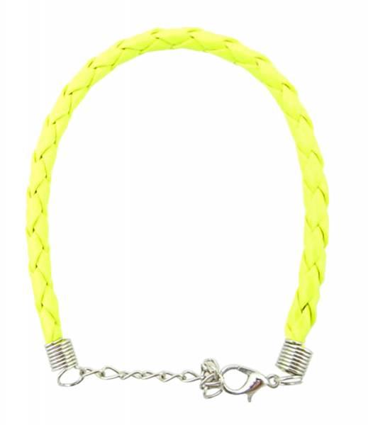 Armband- Herren Damen Neon-Armbaender geflochten - GELB - 0,5cm Karabinerverschluss