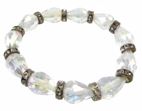 Damen-Armband weiss-Kristall glänzender Spiegel-Effekt mit Strass 20cm Stretch 3377