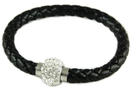 Armband 2840 tolles Damenarmband schwarz mit Strass Magnet-Verschluss silver glamour Bowl Design