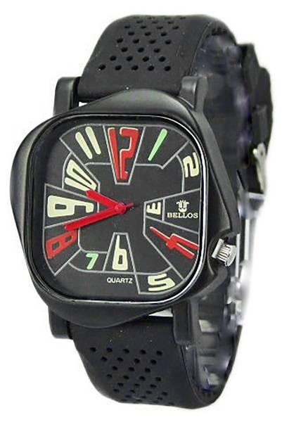 Herren-Uhr schwarz edel ausgefallenes Design unisex Silikonarmbanduhr matt-schwarz