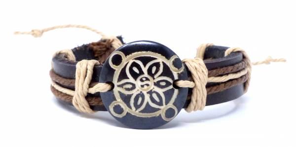 Armband Herren Damen Leder-Armbänder Handmade - Flower-Black