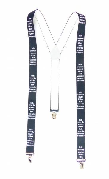 Hosenträger Herren Damen schwarz Suspenders Geburtstags-Design, mit 3 Clips, 3,5 cm - Werde nicht älter....besser