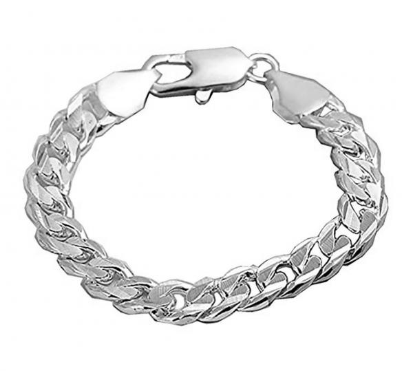 Armband versilbert Panzerkette - Sterling Silber plattiert