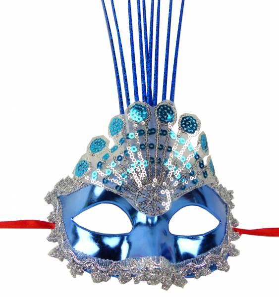 Maske LED Herren Damen Feder Masken Leucht-Maske elegante venezianische Karneval Gesichts-Maske Fasching-Feder-Mask 4947