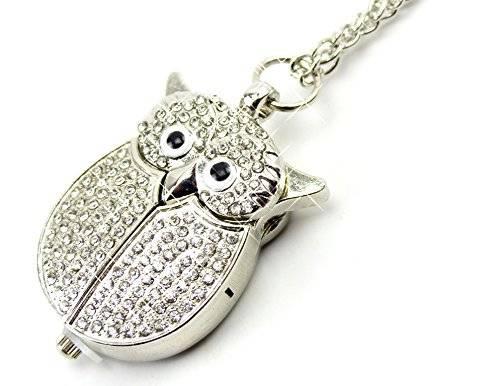 Uhr 1727 edle Ketten-Uhren Umhaengeuhr Taschen-Uhren Eule Filou Silver Glamour