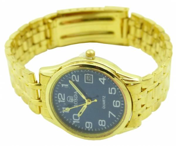 goldene Uhr-Herren Damen-Uhren gut ablesbare Ziffern Armbanduhr Flex Stahlarmband Bel. GOLD