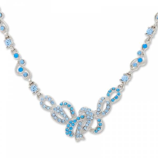 Kette Damen Halsketten edles Collier mit Swarovski Stein Schleifen besetzt Silber blau Damen Schmuck 4876