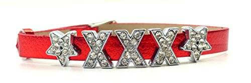 viele Damen Designer Armbänder mit schönen Strass Buchstaben XXX (rot)