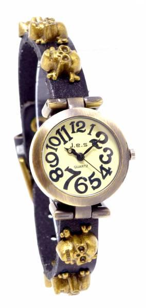 Halloween Totenkopf-Uhr Wickel Armband-Uhren mit Totenkopf Nieten SCHWARZ