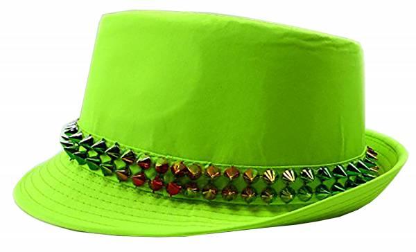 Herren Damen Hut neon grün mit Killer Nieten Ibiza Party Fedora Trilby
