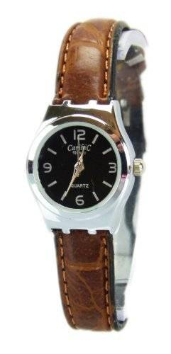 Elegante Stillvolle Schlichte und Klassische Mini Damenuhr mit Lederarmband in Braun Q9