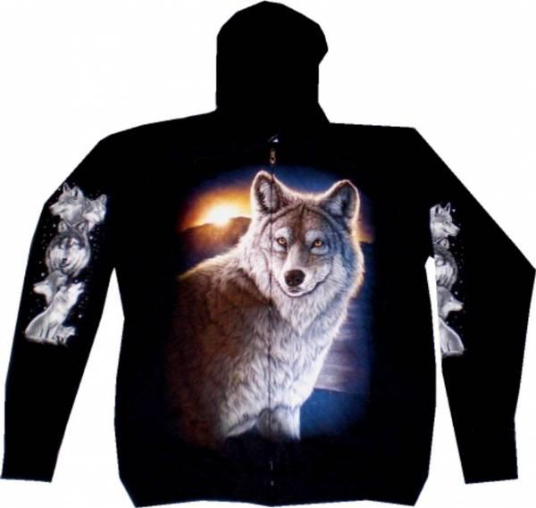 Sweatshirt-Herren Damen-Pullover Kaputzen-Jacke M-XXL black Sherpa Motiv Wolf Hoodie Sweatshirt Kaputzen Pulli
