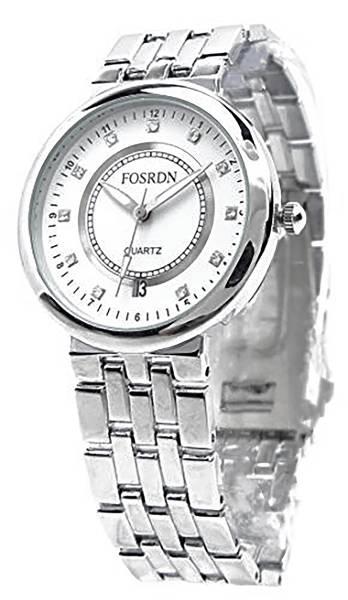 Herren Armband-Uhr Designer-Waches silber weiss mit glänzenden Metallarmband und Datum