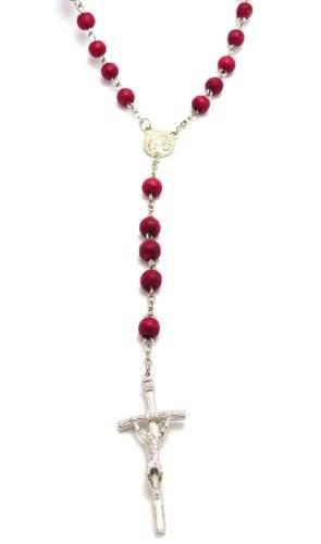 Rosenkranz Halskette mit Perlen aus Holz rot