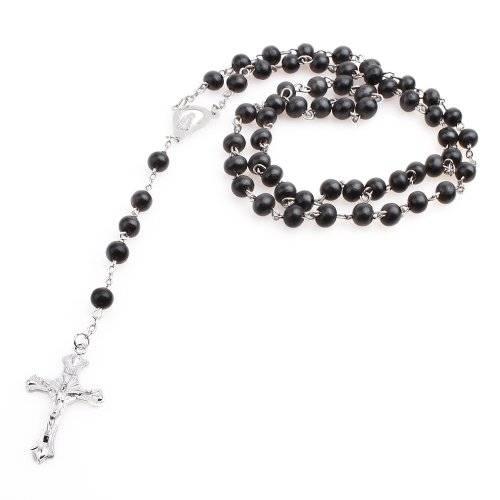 Halsketten Herren Damen Kreuz-ketten schwarz Perlenkette Gebets-kette Rosenkranz mit Perlen aus Holz schwarz