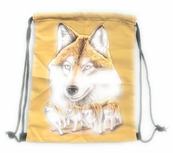 Beutel-Rucksack Herren Damen Hipster Tasche Wolf-Motiv gelb-gold Turnbeutel Segeltuch Seemannsbeutel Stoffbeutel Kinder Gym Tasche - sand-Wulf gold