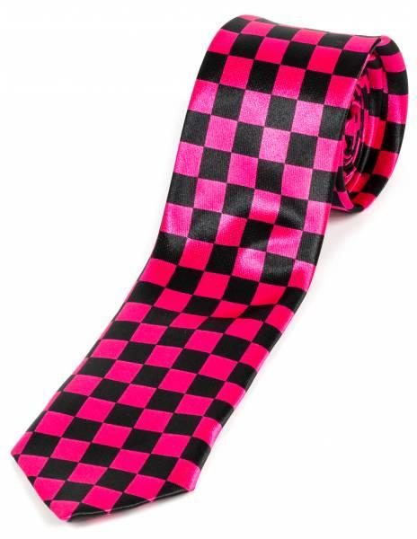 Motto-Krawatte Schlips Schwarz Karo Bicolor Schwarz Pink