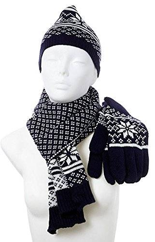 Wintermützen-Set-Wintermuetze-Schal-Handschuhe Set für Sie und Ihn-HoK12BL