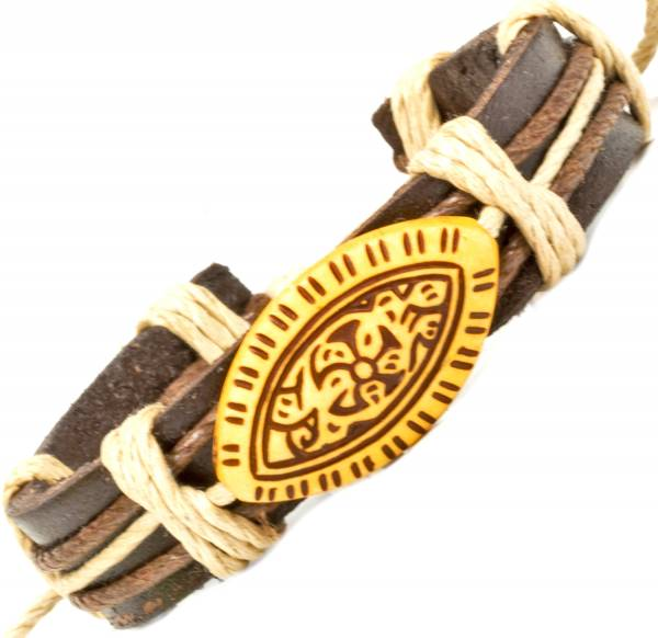Herren Leder Armreifen Schmuck Armband Vintage Einstellbar Surf Armkettchen Motiv Amharisch