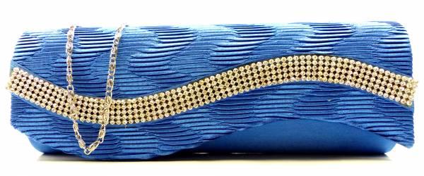Handtaschen 4659 Clutch Damen Handtasche der Extraklasse mit Glamour Strass viele Modelle (blue wave)