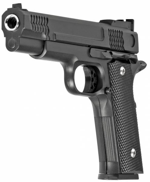 Softair Gun Set Airsoft Vollmetall Federdruck Pistole 19cm Inkl Magazin 0,5 Joule Gürtel-Holster