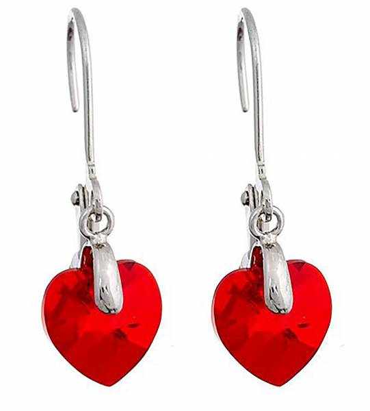 Marken-Ohrringe von Tillberg mit Swarovski-Steinen Wein ROT in Herz-Form Ohrring mit Clip Silber mit Swarovski-Heart Kistall Glamour Earrings der Oberklasse! wine-red