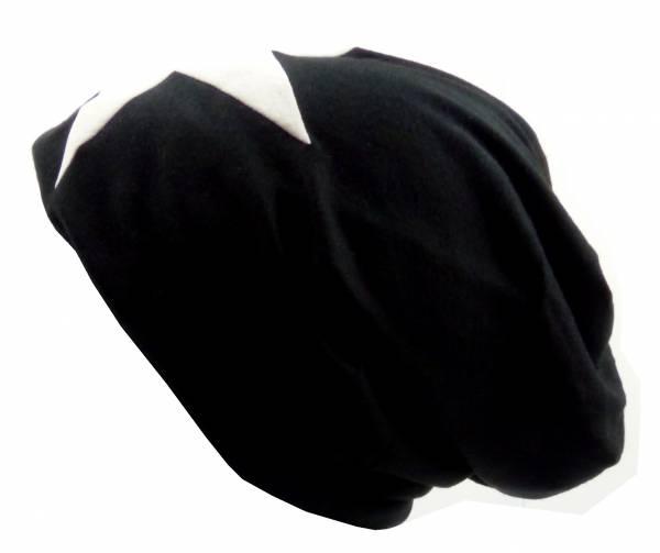Beanie-Cap schwarz mit Stern-Motiv weiss Herren Damen Mütze long Beanie Caps Stoffmütze Beanie Black Star-Theme white Urban Beanie Killer Chill Wear Summer Schwarz 5319