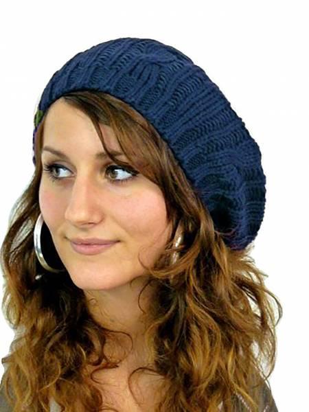 Muetze Damen-muetzen blau Damen Barett Woll Mütze warme Strick Mütze wool cap (blue)