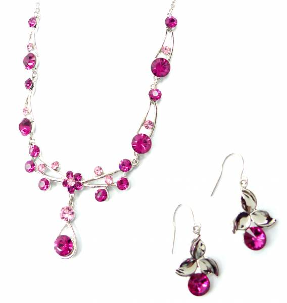 Damen Schmuck-Set Silber mit Swarovski Steinen besetzt Halskette Ohrringe pink